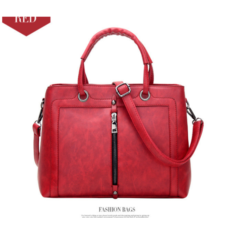 Women's Leather red Handbags Female black Shoulder bag designer Luxury Lady grey Totes Large Capacity Zipper Handbag for Women foxer brand women s cow leather handbags female shoulder bag designer luxury lady tote large capacity zipper handbag for women page 1