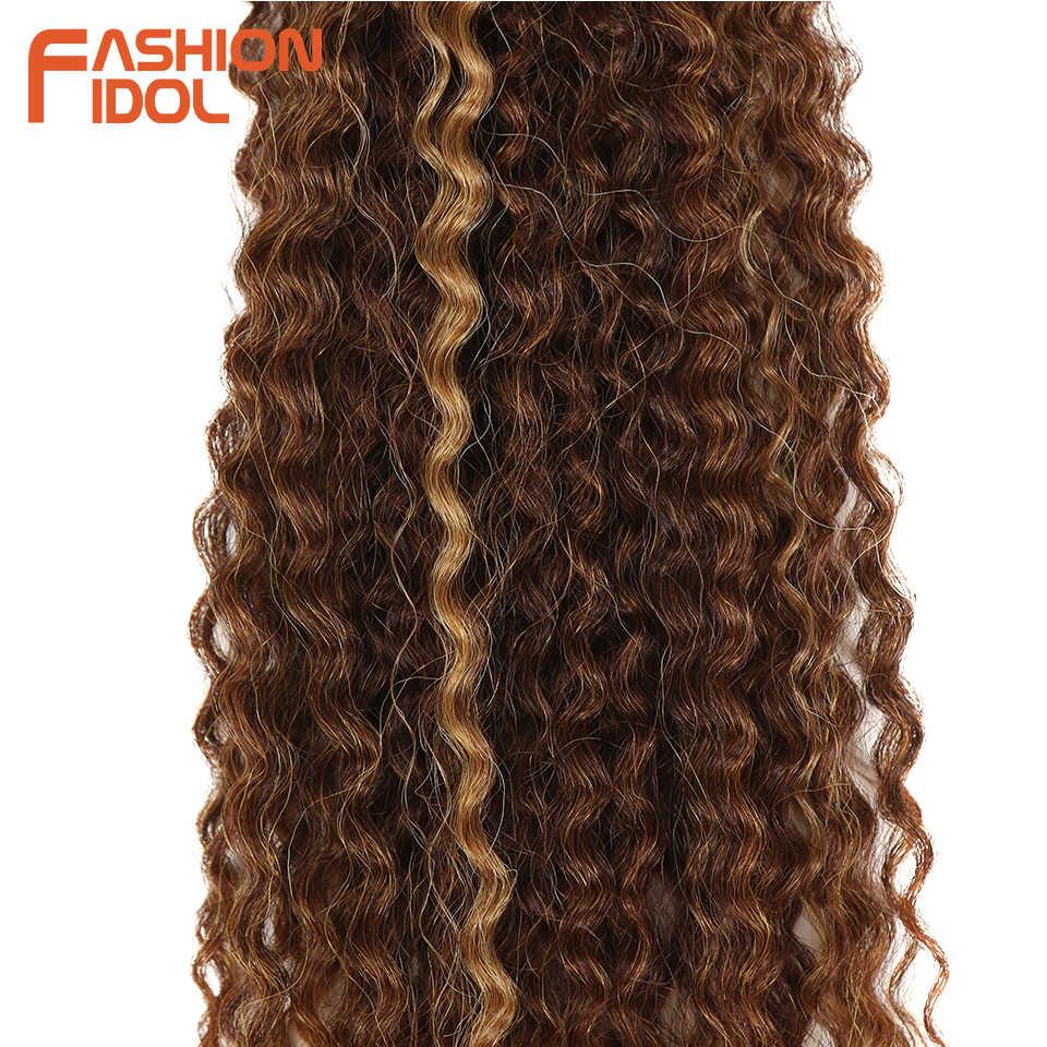 Moda ídolo preto marrom ombre cabelo afro kinky cabelo encaracolado tecelagem 6 pacotes 18-22 polegada extensões de cabelo sintético para preto