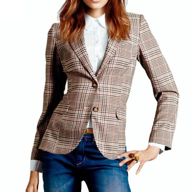 Plaid Blazer Autumn Outwear Women Work Wear Female British Style Slim Coat For Ladies Autumn Official Blazers Women Work Coat