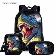 Twoheartsgirl 3D Dinosaur Backpack Set for Teenager Boys Girls Cool Student Kids School Bagpack Children Bookbags Mochila