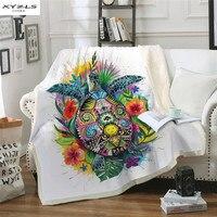 XYZLS Modern Soft Lamb Velvet Blanket Turtle Printed Bedspread Double layer Plush Beds Blanket Sofa Cover 1 Piece