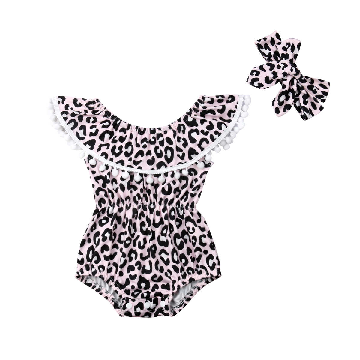 Fashion Newborn Baby Bodysuits Cute Little Baby Leopard Print Ball Outfits Infant Children Summer Jumpsuits+Headbands 2Pcs Suit