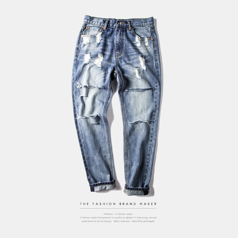 INFALTION Mens Ripped Jeans Washing 2016 Hip Hop Autumn For Men Straight Men Skinny Jeans