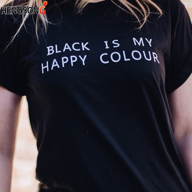 Summer T-shirt Women Fashion High Quality Unisex Couple T Shirt BLACK IS MY  HAPPY COLOR Letters Tees Tops Black White 6f0d47932f6