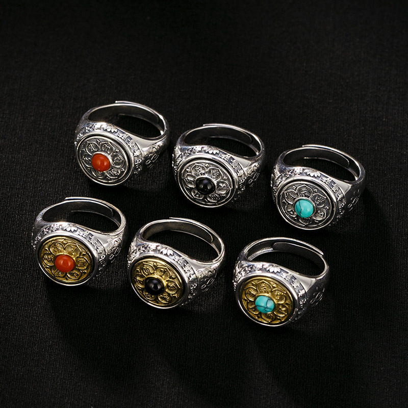 silver 925 Sterling Silver Bronze six character genuine ring retro personality male domineering male opening ring