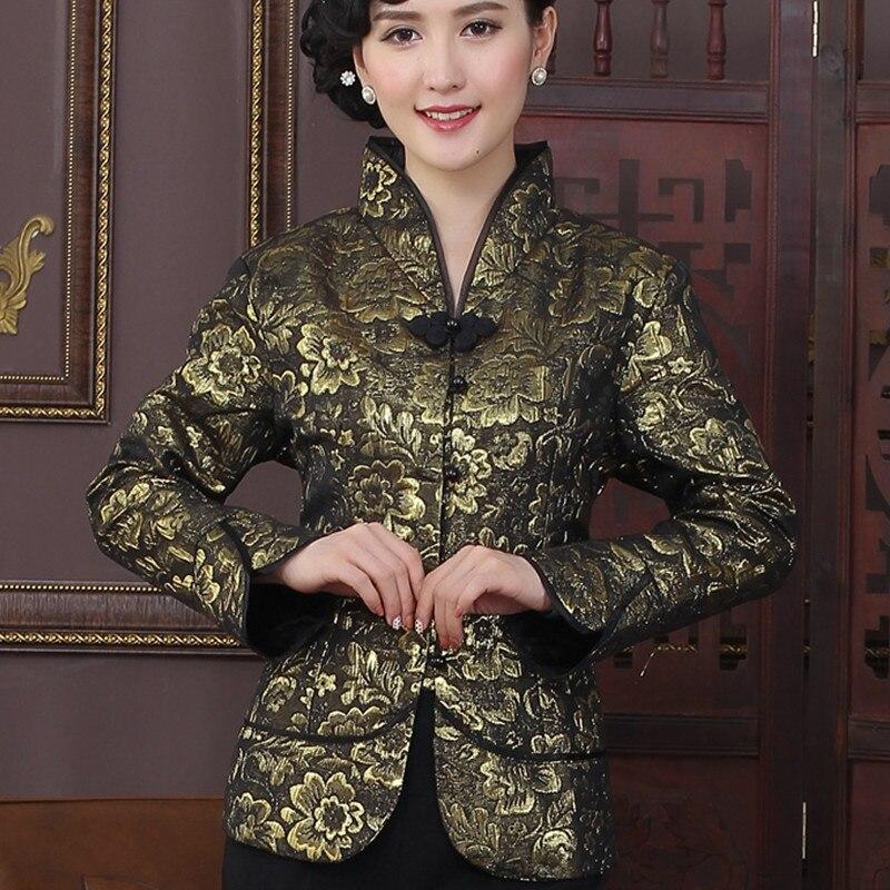 Alta Calidad de Oro Estilo de la Tradición China Chaquetas Delgado Elegante Chaq