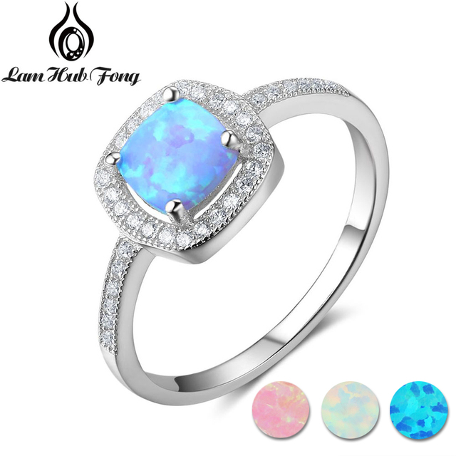 Classic Square Pink White Blue Opal Rings for Women 925 Sterling Silver Finger Ring Wedding Engagement Jewelry (Lam Hub Fong)