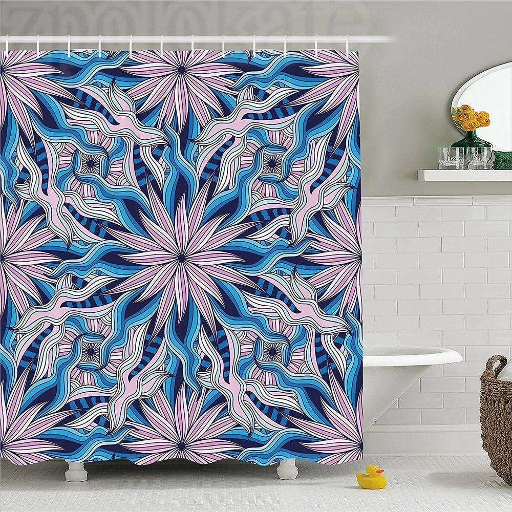 Mandala Decor Shower Curtain Esoteric Ethnic Flowers Digital Made Asian Occult Motif With Wavy Artsy Line Bathroom Set Wit