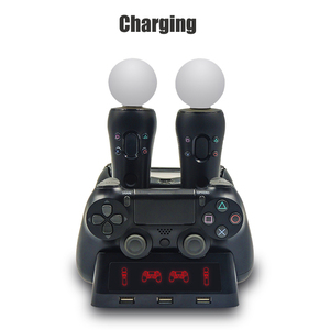 Image 4 - For Playstation 4 PS4 Slim Pro PS VR PS Move Motion Controllers 4 in 1 Charger Dualshock USB Charging Dock Station Storage Stand