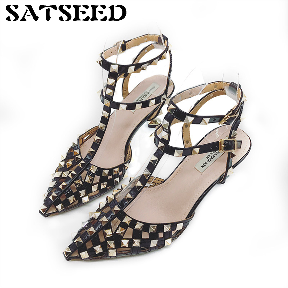 Shoes 2018 Women's High Heels Sandals Sexy Sandals Womens Shoes Pink Rubber Sole Ankle Strap Buckle Casual Shoes Rivet Thin Heel xiaying smile summer woman sandals women pumps buckle strap high thin heel fashion casual sexy bling rivet rubber women shoes