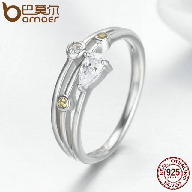 925 Sterling Silver Water Drop Zircon Finger Ring