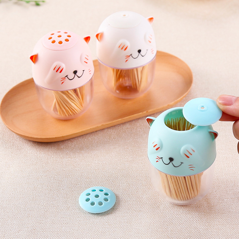 1pc Detachable Cute Cartoon Toothpick Holder Portable Cats Shape Spice Jar for Home Restaurants Table Decoration