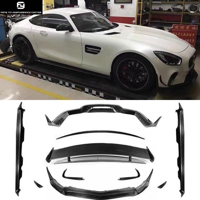 AMG GT GTS Carbon Fiber front bumper lip rear diffuser side skirts rear spoiler wings for Mercedes Benz AMG GT GTS  15-16 maserati granturismo carbon spoiler