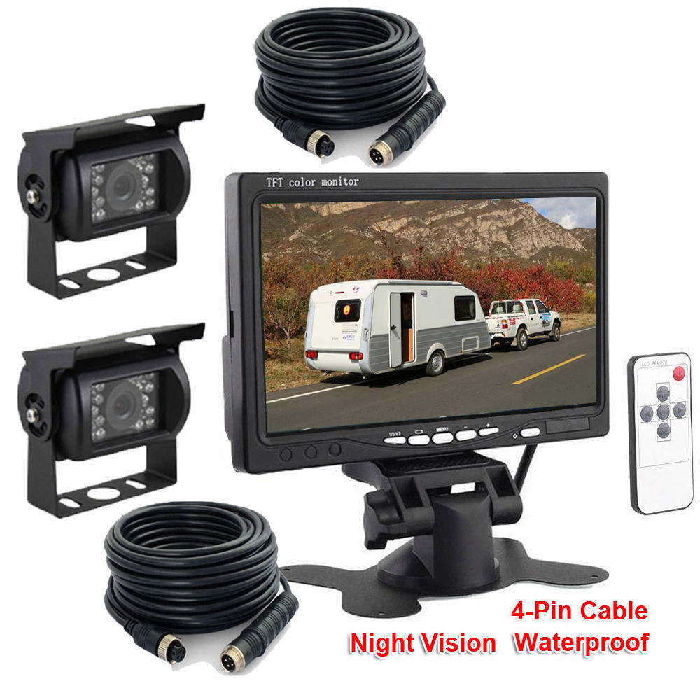 Wire Dual Rear View Backup Reversing Cameras Waterproof IR Rearview Camera 7 Monitor Kit for RV Truck Trailer Bus podofo wireless dual rear view backup reversing cameras waterproof ir rearview camera 7 monitor kit for rv truck trailer bus