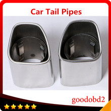 2pc/set  Car Stainless Steel Auto Exhaust Muffler Pipe Tail Pipes Fit For VOLVO XC60 tail pipes auto accessories