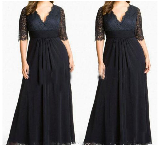 Plus Size Special Occasion Dresses V Neck Sexy Lace Black Evening