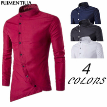 Puimentiua 2019 Spring Autumn Men's Button Irregular Casual Shirt Long Sleeve Sl