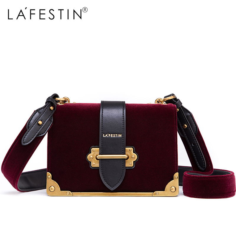 LAFESTIN Women Shoulder Bag Velvet Handbag Brands 2018 Design Luxury Famous Designer Crossbody Bag Bolsa Feminina High Quality