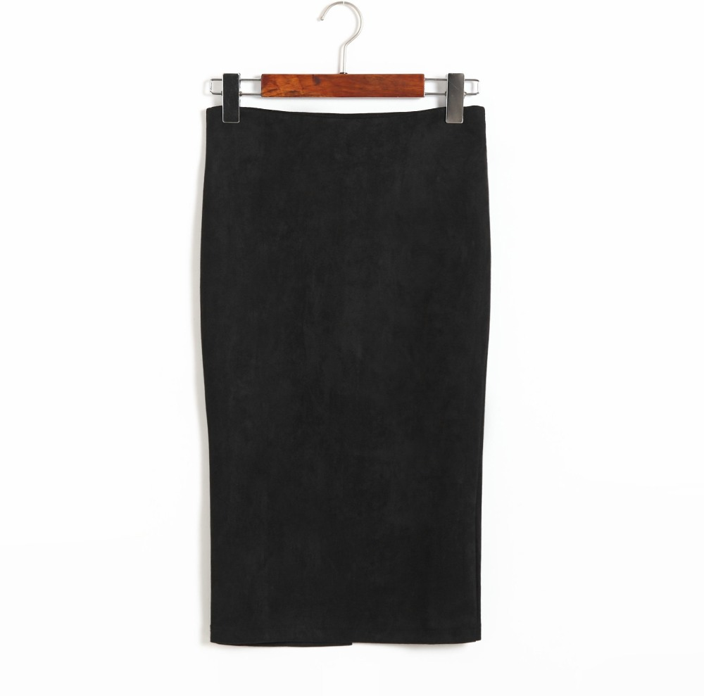 Women Skirts Pencil Skirt Female Autumn Winter High Waist Bodycon Vintage Suede Split Thick Stretchy Skirts