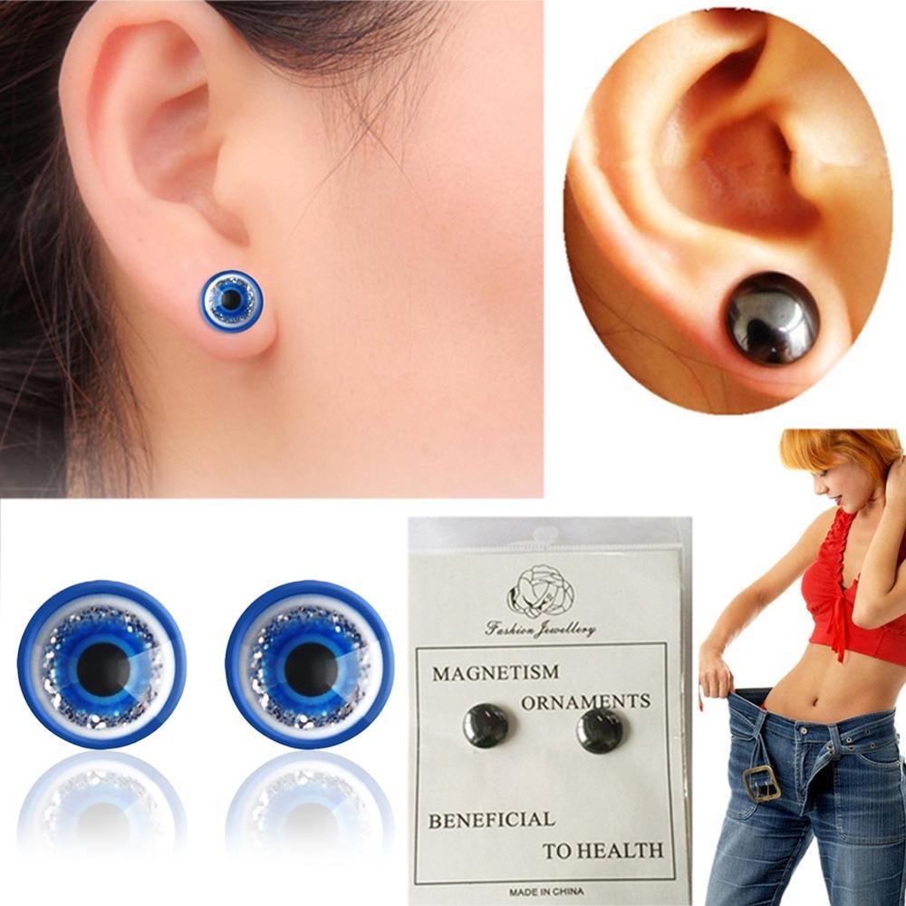 1 пара синие/черные магнитные серьги для похудения пластырь для похудения потеря веса здоровые магниты ленивая паста тонкий пластырь