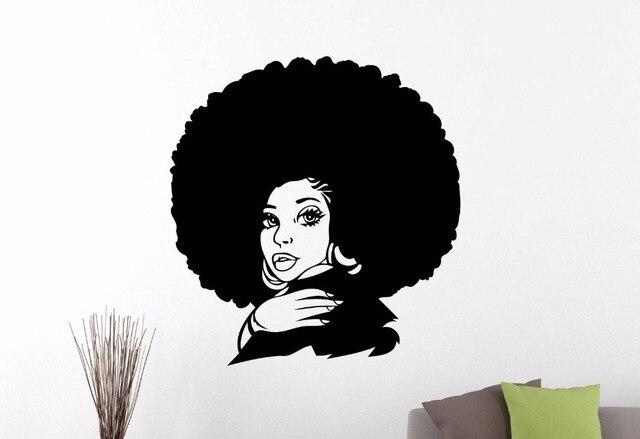african woman wall sticker afro hippie girl face vinyl wall decal
