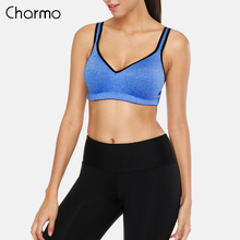 Charmo Women Sports Bra Medium Impact Backcross Yoga Push up Running Workout Underwear Fitness Top Bras