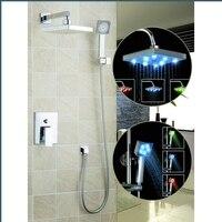 YANKSMART 58802A 8 Square LED Shower Head Wall Mount Rainfall Bathroom NO Need Batteries Double function Shower Faucet Set