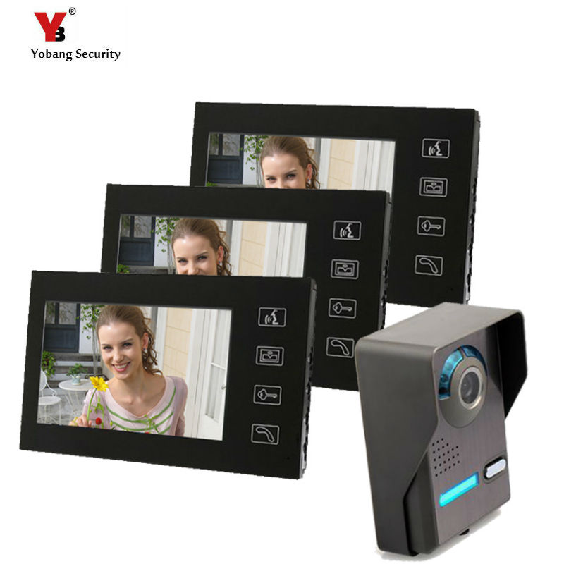 Yobang Security Video Door Bell Phone Camera Home Apartment Entry Kit Touch LCD Screen 7