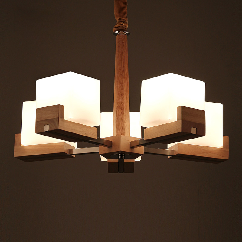 Us 319 99 Nordic Vintage Creative Wooden Chandelier Lighting Five E27 Bulbs Chandeliers Wood Lamp Gl Lampshade Pl355 5 In From Lights