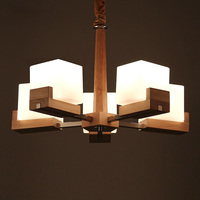 Nordic Vintage Creative Wooden Chandelier Lighting Five E27 Bulbs Chandeliers Wood Lamp Glass Lampshade PL355 5