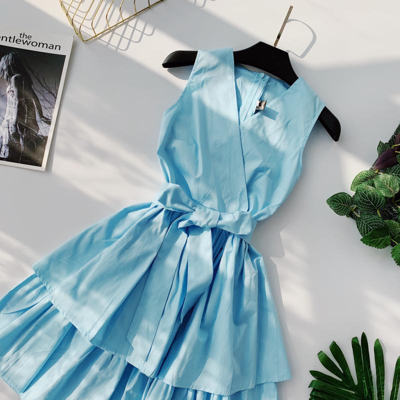 Korean Vintage Pure V Collar Sleeveless High Waist Bow Tie Double Ruffle Holiday Dress Women Vestidos E348 85