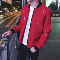 New arrival spring autumn men's Korean fashion casual embroidery baseball red jacket slim fit thin plus size male designer coat