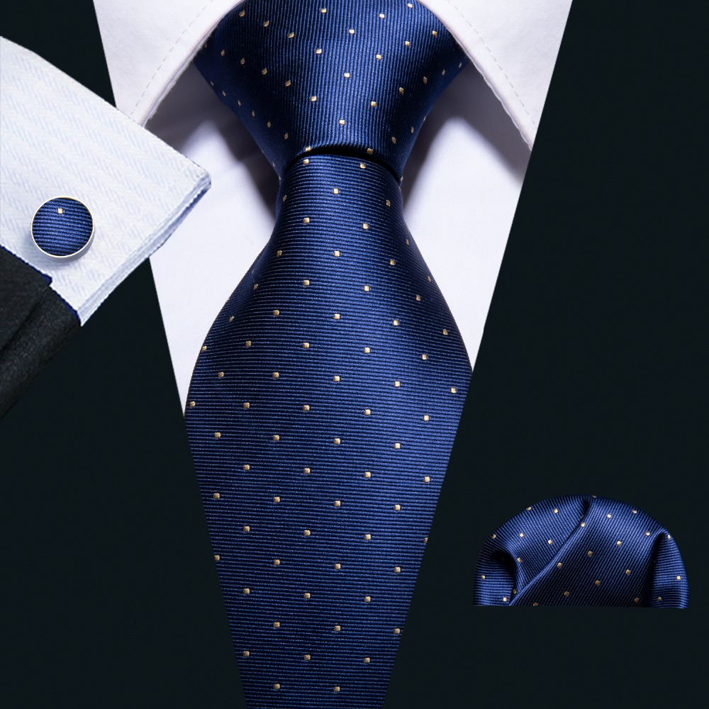 2018 Fashion Navy Polka Dot 100% Silk Tie Barry.Wang Gift Woven Neck Tie For Men Party Business Wedding Free Shipping FA-5095