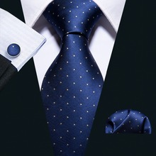 2018 Fashion Navy Polka Dot 100% Silk Tie Barry.Wang Gift Woven Neck For Men Party Business Wedding Free Shipping FA-5095