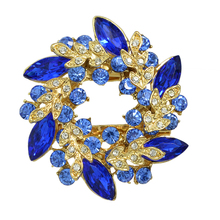Rhinestones Flower Scarf Clip Brooch (3 Colors)