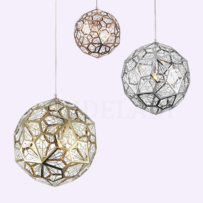 Moderne Etch Web pendentif lumières rond Art diamant boule en acier inoxydable salle à manger chambre bureau lampes suspendues luminaire