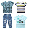 2017 Toddler Boys Summer Clothing Set Enfant Clothes T Shirts Jeans Pants Kids 4Pcs Suit Vetement