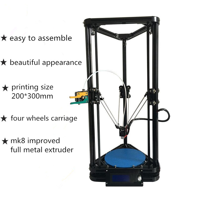 HE3D K200 delta DIY 3d printer kit autoleveling full metal MK8 improved extruder delta printer kit цены