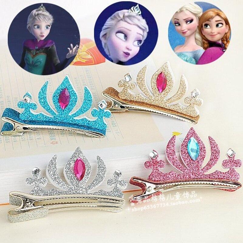 Children's hair clip   headwear   Ice romance Elsa Princess crown hair clip sequins hairpin hair accessories hair bands for women