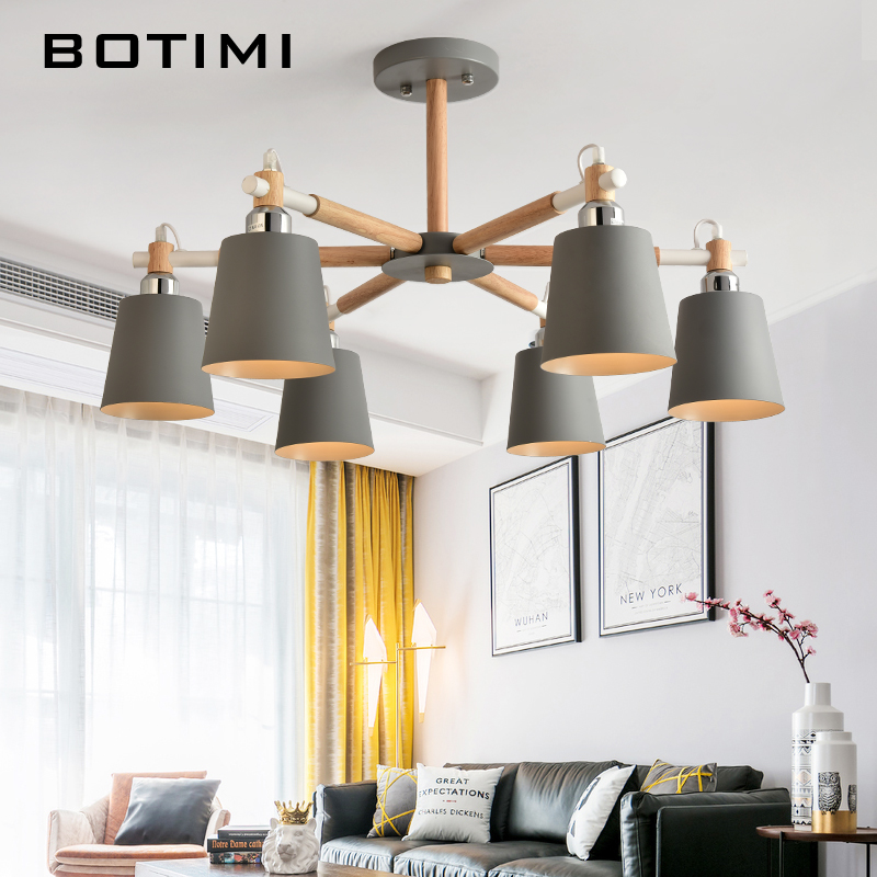 BOTIMI современный светодио дный Люстра для Гостиная E27 люстры на потолке люстры с металлической абажур деревянный обеденный огни