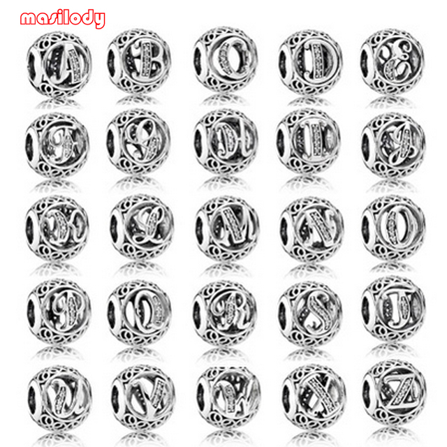 100pcs/lot Metal A Z 26 Letter Beads Bracelets Necklaces Bangles