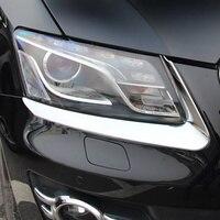 Auto Part ABS Chrome Exterior Headlight Eyebrow Cover Trims Front Light Lamp Frames Stripes 2Pcs For Audi Q5 2009 2010 2011 2012