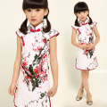 Girls Chinese Style Traditional Cheongsam Dress Girls Child Short Sleeve Plum Peony Printing Cheongsam Girls Princess Dress
