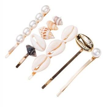 1 zestaw lato plaża biżuteria do włosów moda Imitiation perła muszla rozgwiazda spinki do włosów spinki do włosów dla kobiet akcesoria do włosów
