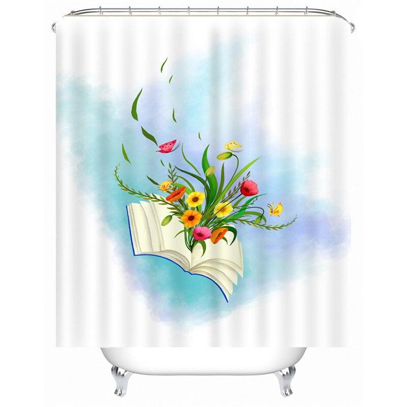 DFH Custom Colorful Bathroom Polyester Fabric Print Modern Flower Shower Curtain bathroom Waterproof Cartoon Kids Shower Curtain