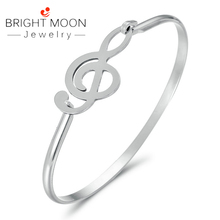 Bright Moon Fashion Cuff Bracelet Silver Color Stainless Steel Note Bangles Bracelets for Women Men Jewelry Gift