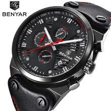 BENYAR למעלה מותג אופנה מקרית שעונים גברים של 3ATM עמיד למים קוורץ שעון גברים תאריך שעון איש עור צבא צבאי שעוני יד