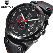 BENYAR Top Brand Fashion Casual Watches Mens 3ATM Waterproof Quartz Watch Men Date Clock Man Leather Army Military Wristwatch
