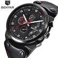 Benyar брендовые модные повседневные часы для мужчин 3 АТМ водонепроницаемые кварцевые часы для мужчин Дата часы мужские кожаные армейские во...