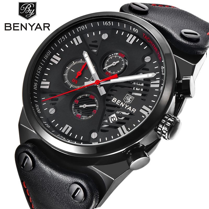 купить Benyar Brand Fashion Casual Watches Men's 3ATM Waterproof Quartz Watch Men Date Clock Man Leather Army Military Wristwatch онлайн